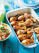 Sweet and spicy chicken drumsticks with tabbouleh