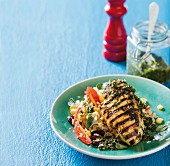 Chimichurri chicken on a bed of vegetable rice
