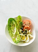 Cost lettuce with egg, olives, tomatoes and lettuce