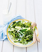 A green vegetable salad with a feta cheese dressing