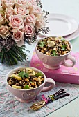 Lentil salad with pine nuts and lemons for Valentine's Day