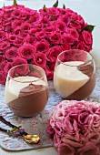 Two glasses of chocolate and vanilla mousse for Valentine's Day