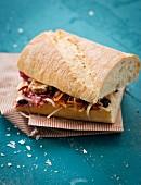 Ciabatta sandwich with raw vegetables