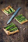 Puff pastry asparagus tart with bacon and cheese