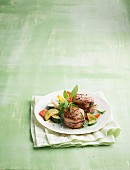 Grilled pork fillet with vegetables and herbs