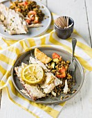 Fish fillet with lentil curry