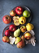 An arrangement of apples and pears