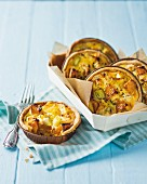 Pumpkin and leek tartlets