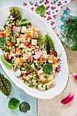 Couscous with watercress pesto and summer vegetables