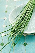 Chives on a porcelain plate