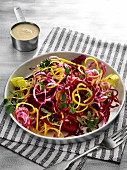 Beetroot and golden beet noodle salad