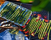 Asparagus on a barbecue