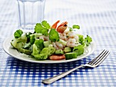 Avocado salad with prawns, coriander and cucumber