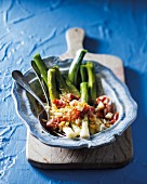 Leek salad with bacon and egg