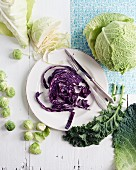An arrangement of cabbages featuring sliced red cabbage on a plate