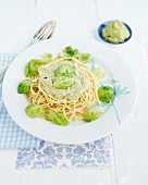 Spaghetti with Brussels sprouts pesto