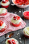 Red Velvet strawberry cupcakes with meringue