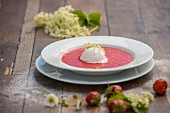 Strawberry soup with elderflower sorbet