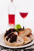Minced chicken roulade stuffed with liver pâté and red onion jam