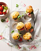 Spicy muffins with ham and tomatoes