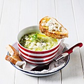 Cold avocado soup with mint