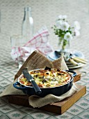 Vegetable quiche in a baking dish