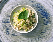 Oriental vegetable rice with kaffir lime leaves