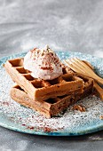 Chocolate waffles with nut cream