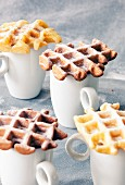 Mini waffles on cups