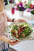 Fruity herb salad with brie