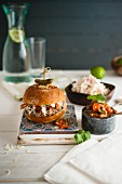 Moroccan lamb burger with mint yoghurt, coleslaw and spicy tomato relish
