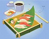 Sushi on a wooden tray served with tea (illustration)