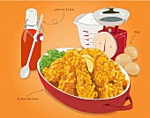 Fried chicken bits with ingredients (illustration)