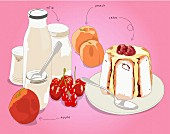 Charlotte with fruit and dairy products as ingredients (illustration)