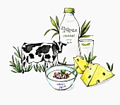 An illustration of dairy products