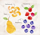 An arrangement of cashew nuts, raspberries, pears and blueberries (illustration)