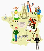 An illustration of France featuring typical attractions on a map