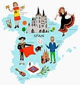 An illustration of Spain featuring typical attractions on a map (illustration)