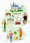 An illustration of Germany featuring typical attractions on a map