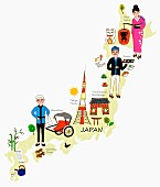 An illustration of Japan depicting typical attractions on a map of the country