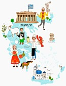 An illustration of Greece featuring typical attractions on a map