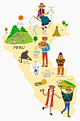 An illustration of Peru featuring typical attractions on a map