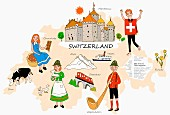 An illustration of Switzerland featuring typical attractions on a map