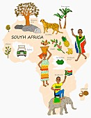 An illustration of South Africa featuring typical attractions on a map