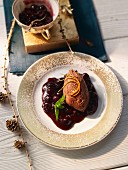 Chocolate mousse with blueberry compote (Sweden)
