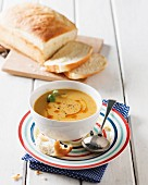 Carrot and lentil soup with potato bread