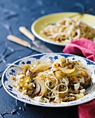 Spaghetti with sweet onions and feta cheese