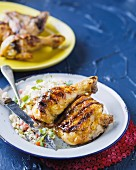 Grilled chicken bits with rice salad