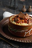 Fatta (rice with red sauce and meat, Egypt)