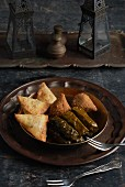 Sambousek, Kobeba and stuffed vine leaves